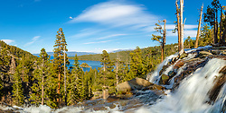 """""""Eagle Falls At Emerald Bay 12"""" - Stitched panoramic photograph of a flowing Eagle Fall above Emerald Bay, Lake Tahoe."""