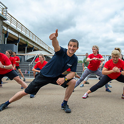 Commission May0089818 Assigned<br /> DT Weekend<br /> Feature:<br /> Bear Grylls Workout with Maddi Howell<br /> Issue Date:<br /> 30 May 2019<br /> Details:<br /> a health and fitness feature with Bear Grylls in Battersea  <br /> (Be Military Fit)