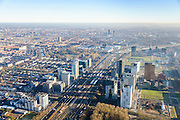 Nederland, Noord-Holland, Amsterdam, 11-12-2013; overzicht  Zuidas met Station Zuid-Wtc. Ringweg Zuid, A10.<br /> Zuid-as, 'South axis', financial center in the South of Amsterdam, with in the foreground headquarters of ING. Amsterdam equivalent of 'the City', financial district. <br /> luchtfoto (toeslag op standaard tarieven);<br /> aerial photo (additional fee required);<br /> copyright foto/photo Siebe Swart.