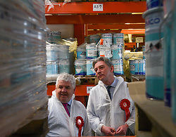Scottish Labour leader Richard Leonard visited an employee owned chemical coatings company in Coatbridge, Chemo International, with Labour candidate for Coatbridge, Chryston and Bellshill Hugh Gaffney to highlight Labour's plans for workers rights and alternative forms of ownership. <br /> <br /> © Dave Johnston / EEm