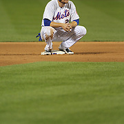 Lucas Duda, New York Mets, waiting on second during a pitching change after his double scored Curtis Granderson in the eighth for the winning run during the New York Mets Vs Washington Nationals. MLB regular season baseball game at Citi Field, Queens, New York. USA. 1st August 2015. (Tim Clayton for New York Daily News)