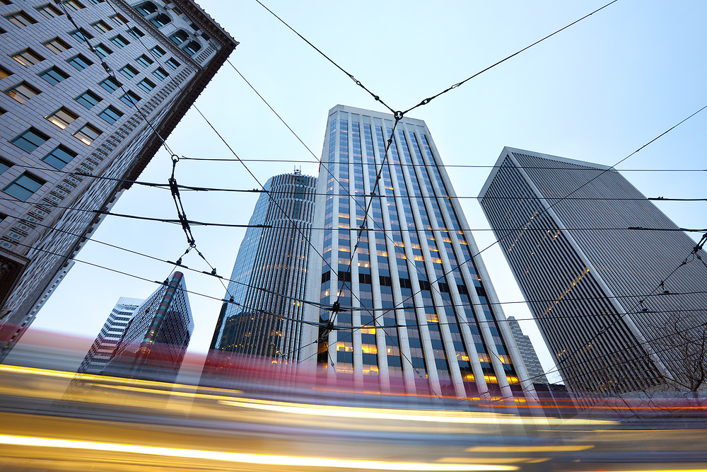 Street car cables and skyline of buildings at Financial District in San Francisco, California, United States
