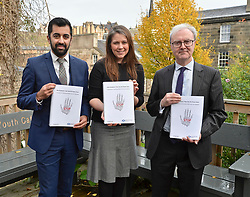 Justice Secretary Humza Yousaf, Communities Secretary Aileen Campbell and Lord Advocate James Wolffe QC launch the consultation in Edinburgh.<br /> <br /> © Dave Johnston / EEm