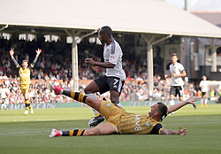 Fulham's Neeskens Kebano (top) and Sheffield Wednesday's Jack Hunt battle for the ball