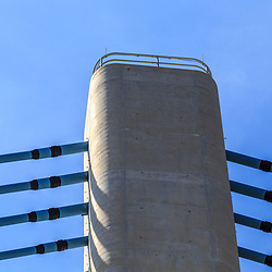 Rehoboth Beach, DE, USA - April 18, 2015: Close Up of Pylon Towers of the Delaware Indian River Inlet Bridge.