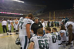 Jeff Stoutland on sideline against the Chicago Bears at Soldier Field on August 8, 2014 in Chicago, Illinois. The Bears won 34-28. (Photo by Drew Hallowell/Philadelphia Eagles