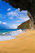 Giant cave at Hanakapi'ai Beach along the Kalalau Trail, Na Pali Coast, Island of Kauai, Hawaii