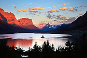 Sunrise over one of Glacier National Park's most iconic and photographed locations, Wild Goose Island.