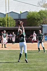 09 May 2014:  Victoria Whitaker sets up under a fly ball during an NCAA Division III women's softball championship series game between the Lake Forest Foresters and the Illinois Wesleyan Titans in Bloomington IL