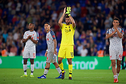 LONDON, ENGLAND - Monday, August 20, 2018: Liverpool's goalkeeper Alisson Becker applauds the supporters after the FA Premier League match between Crystal Palace and Liverpool FC at Selhurst Park. Liverpool won 2-0. (Pic by David Rawcliffe/Propaganda)