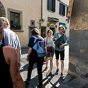 Riding bicycles and walking are the preferred method for navigating the small, cobblestone streets of Florence, Italy.