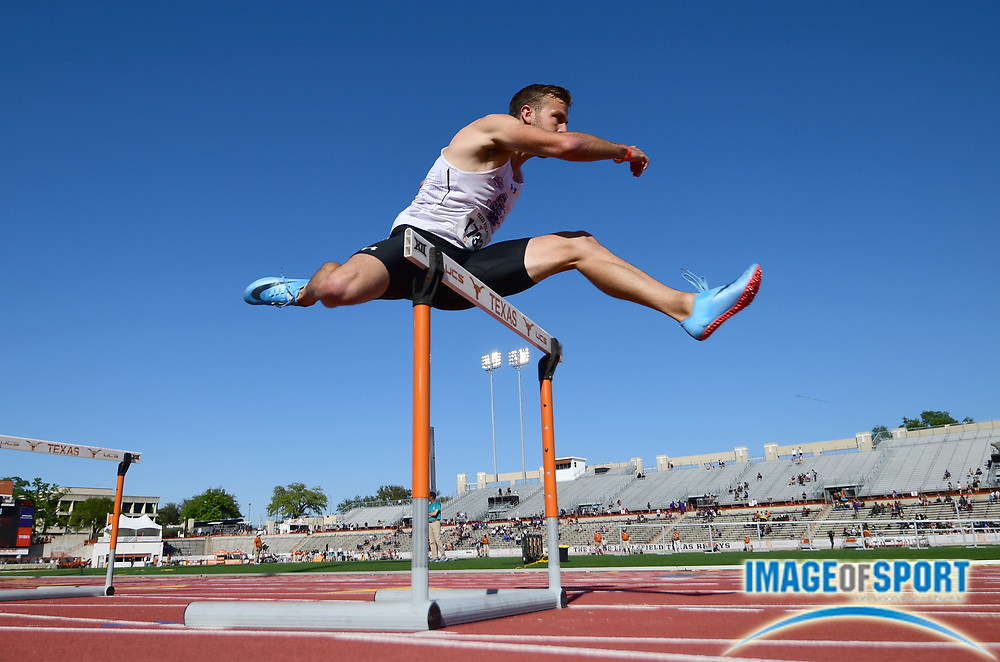 Mar 29, 2018; Austin, TX, USA; Kerry Gleason of Stephen F. Austin runs 51.43 in a 400m hurdles heat during the 91st Clyde Littlefield Texas Relays at Mike A. Myers Stadium.
