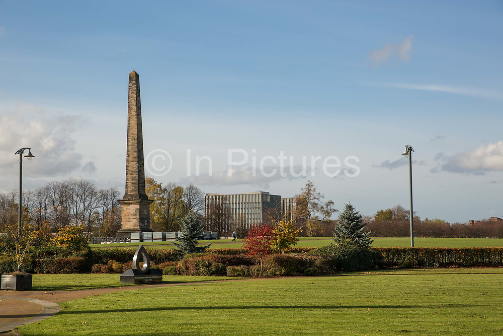 The Nelson Monument in Glasgow Green on the 2nd November 2018 in Glasgow in the United Kingdom. The Nelson Monument is a commemorative obelisk built in 1806 in honour of Vice Admiral Horatio Nelson, constructed the year after his death at the Battle of Trafalgar.