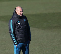 December 4, 2017 - Madrid, Spain - Real Madrid's French coach Zinedine Zidane attends a training session at Valdebebas Sport City in Madrid on December 5, 2017 on the eve of their Champions' League match against Borussia Dortmund. (Credit Image: © Raddad Jebarah/NurPhoto via ZUMA Press)