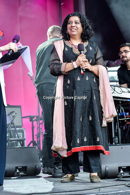 Darjeeling Express founder Asma Khan and a British chef attend the Eid festival in Trafalgar Square London to mark the end of Ramadan on 8 June 2019, London, UK.