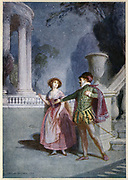 Scene from Mozart's opera 'Don Giovanni' 1787 (c1914). Opera by Wolfgang Amadeus Mozart (1756-1791), Austrian composer, first performed in Prague in 1787.  The libretto by Lorenzo Da Ponte (1749-1838) was based on  Moliere's play of 1665 'Don Juan, ou le festin de Pierre' ('Don Juan, or the Stone Banquet').   Here Don Giovanni is attempting to seduce Zerlina, a country girl to whom he sings 'Give me thy hand, oh fairest' ('La ci darem la mano').  From 'A Day With Wolfgang Amadeus Mozart' by May Byron. (London, c1914).