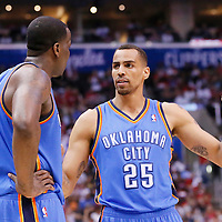 11 May 2014: Oklahoma City Thunder guard Thabo Sefolosha (25) talks to Oklahoma City Thunder center Kendrick Perkins (5) during the Los Angeles Clippers 101-99 victory over the Oklahoma City Thunder, during Game Four of the Western Conference Semifinals of the NBA Playoffs, at the Staples Center, Los Angeles, California, USA.