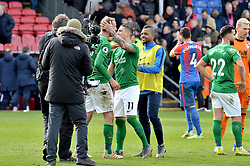 Brighton & Hove Albion's Glenn Murray (third left) and Anthony Knockaert hug at the end of the Premier League match at Selhurst Park, London.