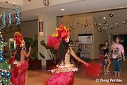 girls perform Tahitian dances for guests in lobby of Fiesta Resort and Spa, Garapan, Saipan, Commonwealth of Northern Mariana Islands, Micronesia ( Western Pacific Ocean )
