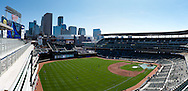 [Note:  This panorama was stitched from multiple photos during post-processing] A panoramic view of Target Field on Opening Day on April 8, 2011.  The game featured the Minnesota Twins and the Oakland Athletics.