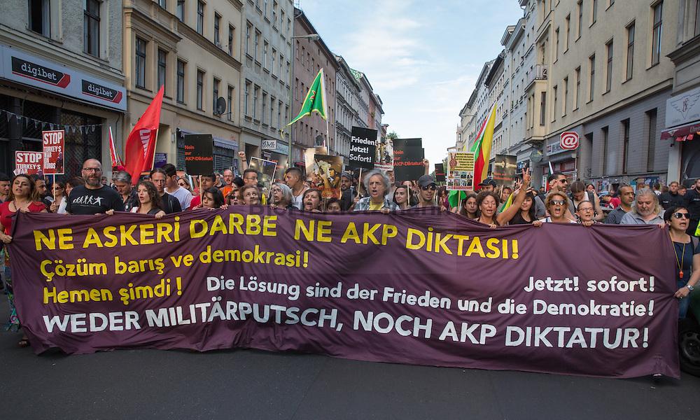 """Berlin, Germany - 22.07.2016<br /> <br /> Demonstration with several hundred participants in Berlin-Kreuzberg under the slogan """"Neither coup nor AKP dictatorship"""" in response to the developments in Turkey.<br /> <br /> Demonstration unter dem Motto """"Weder Militärputsch, noch AKP Diktatur"""" als Reaktion auf die Entwicklungen in der Tuerkei mit einigen hundert Teilnehmern in Berlin-Kreuzberg.<br /> <br /> Photo: Bjoern Kietzmann"""