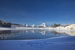 """Wing tracks in the snow, Snake River, Grand Teton Reflection, Grand Teton National Park<br /> <br /> For production prints or stock photos click the Purchase Print/License Photo Button in upper Right; for Fine Art """"Custom Prints"""" contact Daryl - 208-709-3250 or dh@greater-yellowstone.com"""
