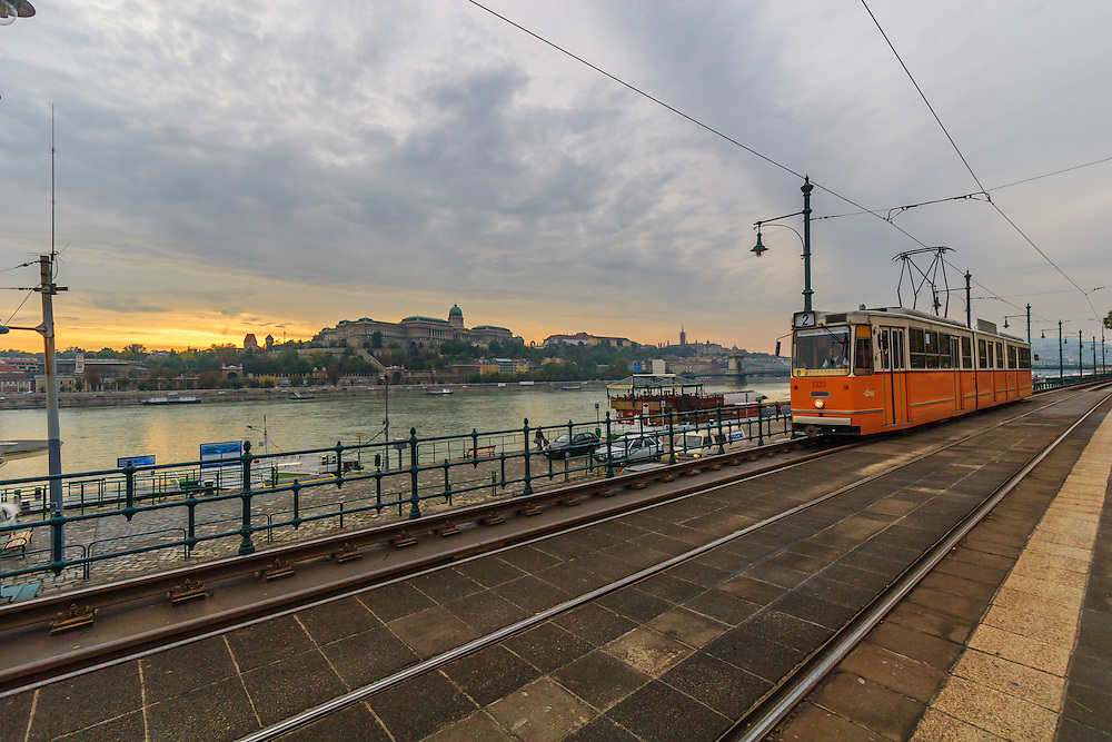 Tram n:o 2 in Budapest, Hungary. With a ride on tram No. 2, one gets a magnificent view of the Gellert Hill, Castle Hill, the Budapest Parliament, and bridges.