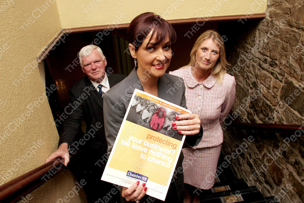 08.09.05.<br /> Pictured at the Old Ground Hotel, Ennis for the launch of Ennis Chamber of Commerce, Chamber HR, were, John Madden, Deputy President Ennis Chamber of Commerce, Fiona McKay, Chamber HR, and Laura Donnelly, Chamber HR. Picture: Alan Place/Press 22.