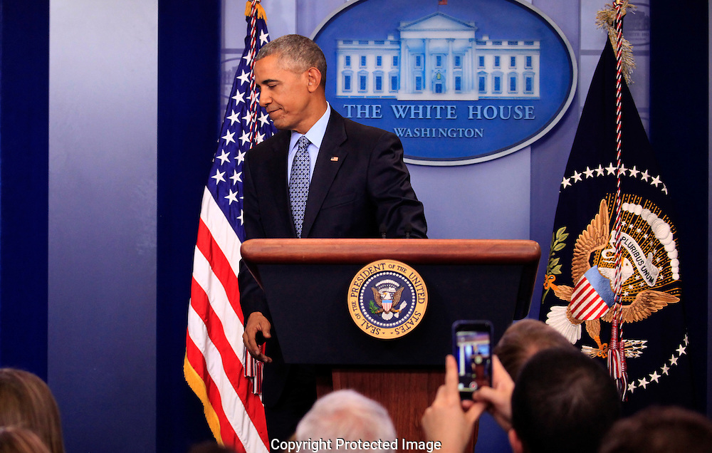 President  Barack Obama holds his Last Press Conference in the White House Press Briefing Room on January 18, 2017,<br /> Photo by Dennis Brack