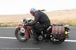 Doug Wothke riding his 1928 Indian 101 Scout in the Motorcycle Cannonball coast to coast vintage run. Stage 14 (303 miles) from Spokane, WA to The Dalles, OR. Saturday September 22, 2018. Photography ©2018 Michael Lichter.