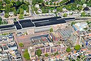 Nederland, Noord-Holland, Haarlem, 01-08-2016; Station Haarlem en omgeving, De Bolwerken en Stationsplein met busstation.<br /> Main railway station Haarlem.<br /> luchtfoto (toeslag op standard tarieven);<br /> aerial photo (additional fee required);<br /> copyright foto/photo Siebe Swart