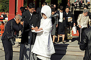 bride and groom with photographer and family at the end of a traditional Shinto wedding ceremony Kamakura Japan