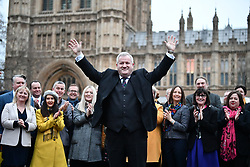 © Licensed to London News Pictures. 16/12/2019. London, UK. SNP Westminster leader Ian Blackford with 48 Newly elected SNP MPs at a photocall near the Houses of Parliament in Westminster, London. Last week the Conservative Party achieved a majority of 80 seats in a general election which saw large numbers of seats traditionally held by Labour switch to the Tories. Photo credit: Ben Cawthra/LNP