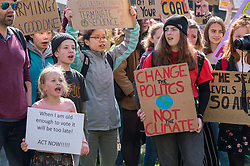© Licensed to London News Pictures. 12/04/2019. Bristol, UK. Youth Strike 4 Climate outside Bristol City Hall on College Green followed by a march in the city centre. The Bristol event is part of a series of UK wide and international days of protest as students and school pupils across the world miss classes, striking to protest a lack of governments' action to combat the climate crisis. The international movement was started by Swedish student Greta Thunberg. Photo credit: Simon Chapman/LNP. Photo credit: Simon Chapman/LNP