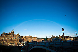 A rainbow near The Balmoral, a luxury five-star hotel and landmark in Edinburgh, Scotland, was known as the North British Hotel until the late 1980's. It's location is in the heart of the city, at the east end of Princes Street..Pic © Michael Schofield.