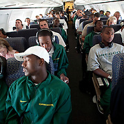 The Oregon Ducks use a chartered airplane to fly to Oklahoma.