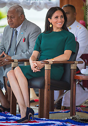 The Duchess of Sussex attends the unveiling of a statue commemorating Sergeant Talaiasi Labalaba, at Nadi Airport, in Nadi, Fiji, on day three of the royal couple's visit to Fiji.