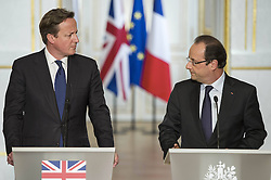59680173  .French President Francois Hollande (R) and visiting British Prime Minister David Cameron attend a joint press conference at the Elysee Palace in Paris, France, May 22, 2013. French President Francois Hollande and British Prime Minister David Cameron on Wednesday condemned the assassination of a British soldier in the suburbs of London after their meeting in Paris, France, May 22, 2013. Photo by: imago / i-Images. UK ONLY