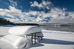 Snow Covered, Picnic Table, Winter, Grand Teton National Park