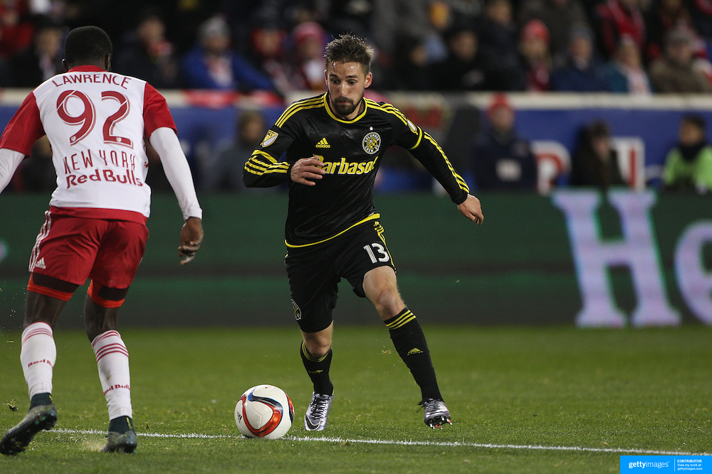 Ethan Finlay, Columbus Crew SC, in action during the New York Red Bulls Vs Columbus Crew SC, Major League Soccer Eastern Conference Championship, second leg, at Red Bull Arena, Harrison, New Jersey. USA. 29th November 2015. Photo Tim Clayton