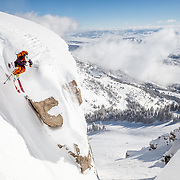 Tigger Knecht airs into Corbet's Couloir at Jackson Hole Mountain Resort.