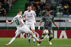 December 13, 2018 - Lisbon, Portugal - Sporting's forward Fredy Montero from Colombia (R ) vies with Vorskla's midfielder Volodymyr Chesnakov during the UEFA Europa League Group E football match Sporting CP vs FC Vorskla Poltava at Alvalade stadium in Lisbon, Portugal on December 13, 2018 (Credit Image: © Pedro Fiuza/ZUMA Wire)