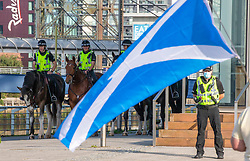 17SEP20 Mounted police at the All Under One Banner demo outside the BBC at Pacific Quay.