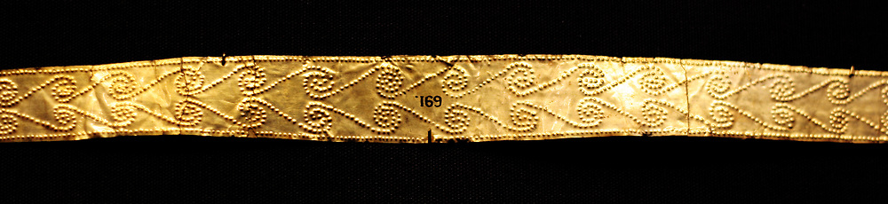 Ancient Greek 'Palace Age' Minoan Gold Diadems. Circa 1850-1550 BC. From the Aegina treasures held at the British Museum, London. Originally from Aegina, off the south coast of Greece.