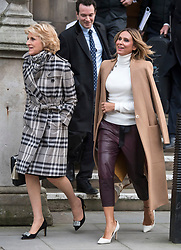© Licensed to London News Pictures. 01/02/2018. London, UK. Tatiana Akhmedova (right) leaves the High Court in London with her with her lawyer Baroness Shackleton (left). Ms Akhmedova is in court as her ex husband, Russian billionaire Farkhad Akhmedov,  seeks to reduce the record divorce settlement of £453m granted to her in 2016. The 2016 ruling was one of the largest awards ever made by a British court. Photo credit: Ben Cawthra/LNP