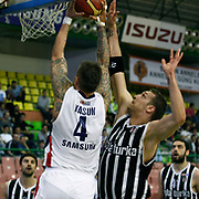 Efes Pilsen's Mario KASUN (L) and Besiktas's Fedor LIKHOLITOV (R) during their Turkish Basketball league Play Off semi final first match Efes Pilsen between Besiktas at the Ayhan Sahenk Arena in Istanbul Turkey on Sunday 09 May 2010. Photo by Aykut AKICI/TURKPIX
