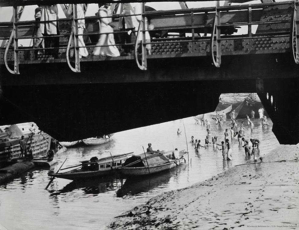 Hindus Bathing in the River at Howrah Bridge, Calcutta, India, 1929