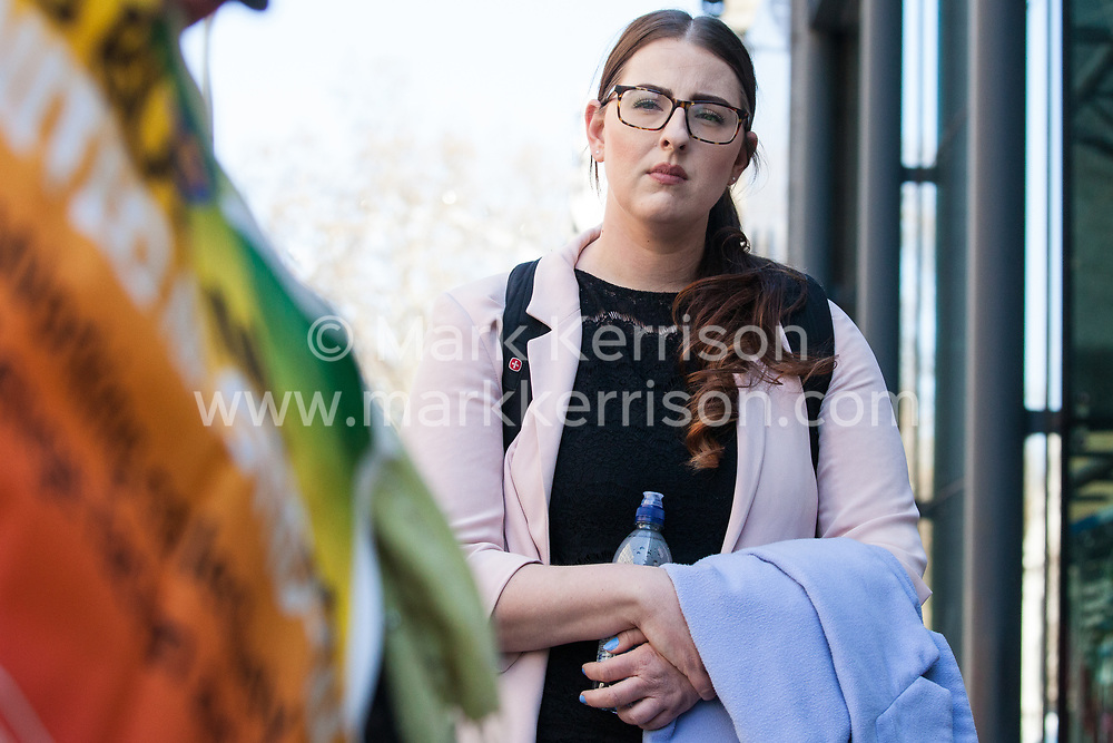 London, UK. 10th April 2019. Laura Pidcock, Shadow Minister for Business Energy & Industrial Strategy, joins outsourced workers belonging to the Public & Commercial Services (PCS) union standing on a picket line outside their place of work at the Government Department for Business, Energy and Industrial Strategy (BEIS) during strike action to demand a real living wage of £10.55 per hour (the Living Wage Foundation's London Living Wage) and terms and conditions comparable with civil servants who work in the same department.