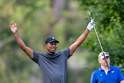May 29, 2019, Dublin, Ohio, U.S.: TIGER WOODS reacts after playing his shot from the fourth tee during the Pro-Am of the Memorial Tournament presented by Nationwide at Muirfield Village Golf Club. (Credit Image: © Adam Lacy/Icon SMI via ZUMA Press)