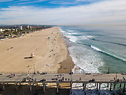 Elevated view of the beach and pier Huntington Beach, Orange County, California